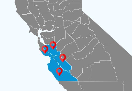 Monterey County, Santa Cruz County, San Benito County, Santa Clara County